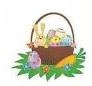 "TS-104 ""Easter Basket with Bunny"" on White Label 1 5/8"" diameter   Quantity 96"
