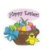 "TS-105 ""Happy Easter Basket with Chick"" on White Label. 1 5/8"" diameter. Quantity 96"