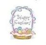 "TS-106 ""Happy Easter Basket"" on White Label 1 5/8"" diameter Quantity 96"