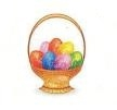 "TS-110 ""Easter Basket with Glitter Eggs"" on White Label. 1 5/8"" diameter. Quantity 96"