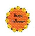 "TS-128 ""Happy Halloween"" on white label. 1 5/8"" diameter. Quantity 96"