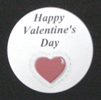 "TS-23 ""Happy Valentine's Day"" white label 1 5/8in. dia. Quantity 96"