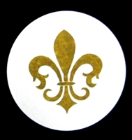 TS-34 Fleur de Lis on white label 1 5/8in. dia. Quantity 96