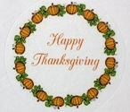 "TS-40 ""Happy Thanksgiving"" on White Label. 1 5/8in. diameter. Quantity 96"
