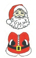 "TS-92 2 piece Santa on white label. 1 5/8"" diameter. 2 sheets of each design. Quantity 96"