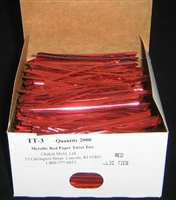 "TT-03 Metallic Red twist tie. 3 1/2"" Length Quantity 2,000"