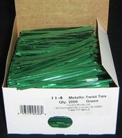 "TT-04 Metallic Green twist tie. 3 1/2"" Length Quantity 2,000"