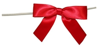 "TTB2-13  Red 2 1/2"" Twist Tie Bow Qty 100"