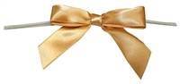 "TTB2-15  Old Gold 2 1/2"" Twist Tie Bow Qty 100"