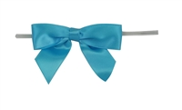 "TTB2-97  Aqua 2 1/2"" Twist Tie Bow Qty 100"