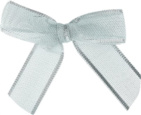 "TTB2M-02  Metallic Silver 2 1/2"" Twist Tie Bow Qty 100"