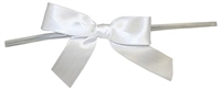 "TTB3-01  White 3 1/4"" Twist Tie Bow Qty 100"