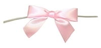 "TTB3-02  Light Pink 3 1/4"" Twist Tie Bow Qty 100"