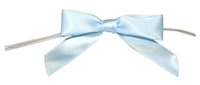 "TTB3-03  Light Blue 3 1/4"" Twist Tie Bow Qty 100"