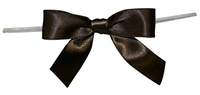 "TTB3-18  Chocolate 3 1/4"" Twist Tie Bow Qty 100"