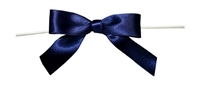 "TTB3-62  Navy 3 1/4"" Twist Tie Bow Qty 100"