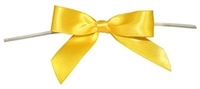 "TTB3-65  Yellow 3 1/4"" Twist Tie Bow Qty 100"