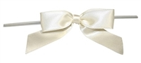 "TTB3-86  Ivory 3 1/4"" Twist Tie Bow Qty 100"
