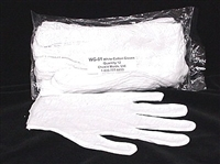 WG-01Q  White Cotton Gloves. 3 packages of 12