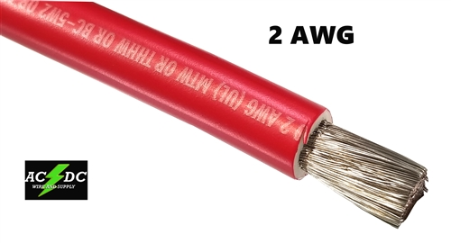 Red 5ft Long 2 AWG Marine Battery Cable with 1//2 Stud Copper Tinned Lugs
