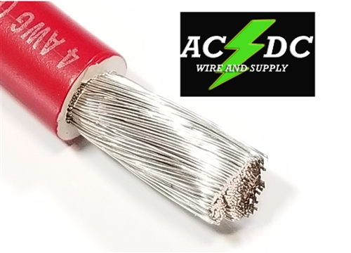 4 Gauge Battery Cable Marine Grade Tinned Copper Per Ft Red