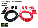 Military Style Battery Terminal 2/0 Gauge DUAL BATTERY Relocation Cable Wire Kit