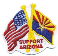 0-0942 - SUPPORT ARIZONA US & AZ flags crossed souvenir embroidered patch, AZ, ARIZ
