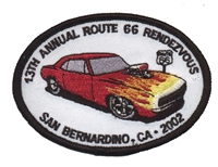 "13TH ANNUAL ROUTE 66 RENDEZVOUS  souvenir patch. 2.5"" tall x 3.5"" wide."