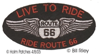 LIVE TO RIDE ROUTE 66 orange letters