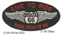 LIVE TO RIDE ROUTE 66 red letters