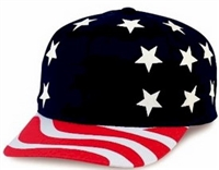 USA flag pattern printed 6 panel cap.