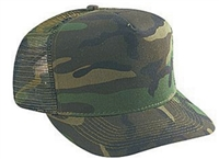 Green camouflage 5 panel cap with mesh rear panel.