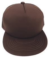 Flat bill poly-mesh trucker cap.