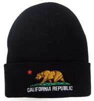 0182-1204 - CALIFORNIA REPUBLIC flag embroidered knit beanie