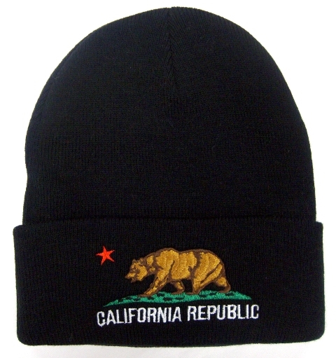 CALIFORNIA REPUBLIC flag embroidered knit beanie