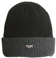 Acrylic beanie with Thinsulate lining. Black, Black cuff & Grey crown, or Grey cuff & Black crown.
