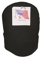 Super Stretch knit beanie. Thicker, bulkier, & heavier than our standard #0182 knit beanie. Made in USA. Color: Black.