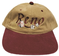 Reno embroidered low profile brushed cotton cap.