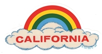 CALIFORNIA rainbow cloud static cling decal