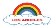 LOS ANGELES rainbow cloud static cling decal