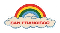 SAN FRANCISCO rainbow cloud static cling decal