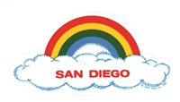 SAN DIEGO rainbow cloud static cling decal