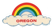 OREGON rainbow cloud static cling decal