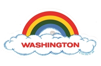 WASHINGTON rainbow cloud static cling decal