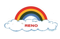 RENO rainbow cloud static cling decal