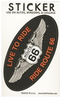 0450-0066-LIVE - LIVE TO RIDE, RIDE ROUTE 66 souvenir sticker