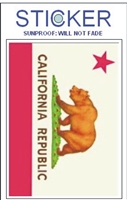 "CALIFORNIA REPUBLIC flag sticker - 4.875"" tall x 3.125"" wide vinyl with a drilled hole to hang in a display rack. Sticker peels off to shape & measures 2.5"" tall x 3.75"" wide. Coated to be fade resistant. Suitable for a bumper, outside of a wi"