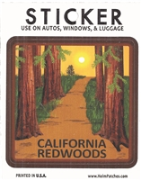 "CALIFORNIA REDWOODS souvenir sticker. Fade resistant. Measures 3"" x 3"". Total package is 3.375"" wide x 4 5/16"" tall. Hangs on a store display. Printed in the USA."