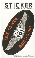 LIVE TO RIDE, RIDE US 101 souvenir sticker