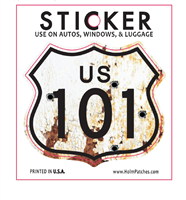 US 101 rusted bullet hole souvenir sticker.